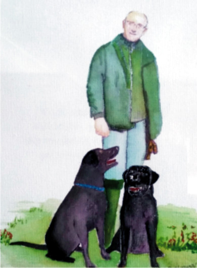 Walking the dogs - Watercolour birthday card 2014