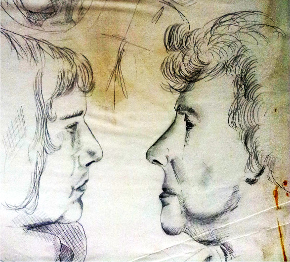 Brother and Grandmother circa 1973 - pencil sketch
