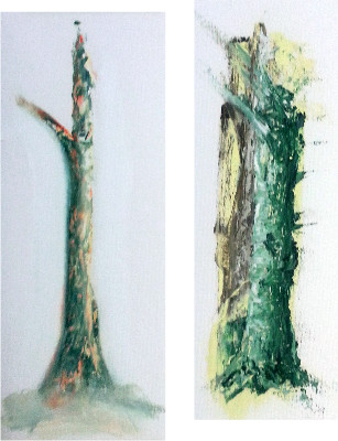 Trees - experiment with new oil paint